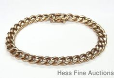 Heavy Vintage 38.6 Gram Curb Link Mens 14k Yellow Gold Bracelet 7.75 Inches #Chain