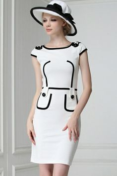 Chic Contrast Cap Sleeve Dress OASAP.com