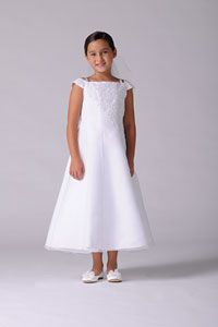 Flower Girl Dresses -   Us Angels Dress Style 319 - WHITE Organza Cap Sleeve A Line Dress with Floral Bodice