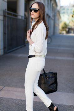 Emerson Fry: White denim and studded belt Spring Summer Fashion, Autumn Fashion, Street Chic, Street Style, White Fashion, Fashion Outfits, Womens Fashion, Timeless Fashion, Passion For Fashion