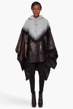 sehr außergewöhnliche Variante aus schwarzem Leder und graue, gestrickte Kapuze