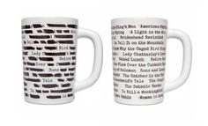 """A cool banned books inspired mug with """"censoring"""" that'll disappear as it's filled with hot coffee or tea."""