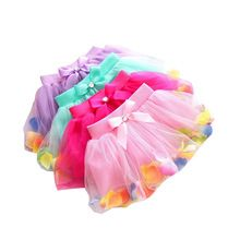 Hot Summer-vente Bébé Enfants Filles Coloré Pétales Arc Tutu Jupe Princesse Parti Tulle Robe FANTAISIE Vêtements 3-8 T(China (Mainland))