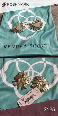 NWT Kendra Scott Ophelia earrings These earrings are so gorgeous! Brand new with tag Kendra Scott Ophelia's in Haven gold. Retail $150+ tax. Iridescent crystals surrounded by drusy stones. With white and Aqua kyrocera opals. Kendra Scott Jewelry Earrings