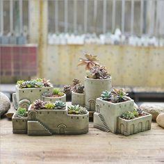 В европейском стиле творческий цемент цветочные горшки настольные декоративные сочные сад горшки поставки купить на AliExpress