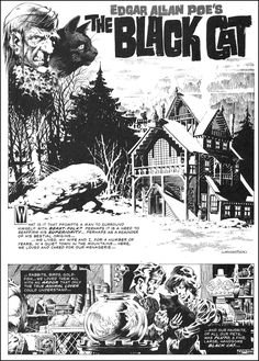 The black cat (Edgar Allan Poe) - Bernie Wrightson Comic Book Pages, Comic Book Artists, Comic Artist, Comic Books Art, Bd Comics, Horror Comics, Edgar Allan Poe, Game Design, Frankenstein