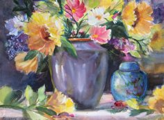 Flower Vases, Flower Art, Flowers, Watercolor Mixing, Watercolor Paintings, Examples Of Art, Still Life Art, Whimsical Art, Artsy Fartsy
