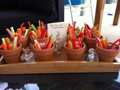 Peter Rabbit vegetable garden. Vegetable sticks and dip (made in the thermomix) #story book theme baby shower