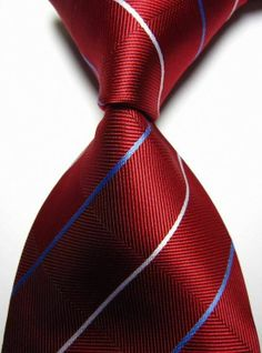 New Classic Checks Red Blue White JACQUARD WOVEN 100% Silk Men's Tie Necktie #NeckTie Great Mens Fashion, Mens Fashion Suits, Plain Tees, Classy Men, Tie Styles, Well Dressed Men, Tie Knots, Red White Blue, Classic