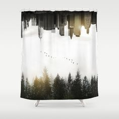 Duality Shower Curtain  #duality #juxtaposition #doubleexposure #doubleexpo #upsidedown #nature #forest #landscape #city #newyork #skyline #showercurtains #bathroom #homedecor