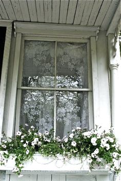 Shabby Chic Window Box: Includes some how-to tips & flower suggestions.DIY Shabby Chic Window Box: Includes some how-to tips & flower suggestions. Old Windows, Windows And Doors, Casement Windows, Garden Windows, Cottage Windows, Purple Home, Window View, Window Detail, Window Boxes