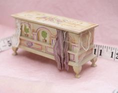 Hand painted blanket box, 1/12th dolls house scale