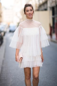 Melissa Bolona at Paris Haute Couture week attending the Valentino show wearing Valentino and Gianvito Rossi shoes