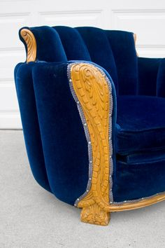 art deco ANTIQUE sapphire blue carved wood tub by misovintage, $750.00