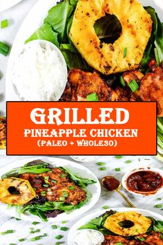 This Paleo + grilled pineapple chicken has a smoky barbecue flavor, with a hint of sweetness and juicy grilled pineapple for a healthy summer dinner! No Dairy Recipes, Lamb Recipes, Potato Recipes, Paleo Recipes, Crockpot Recipes, Chicken Recipes, Cooking Recipes, Paleo Food, Meal Recipes