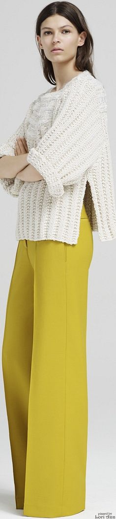 Adam Lippes Resort 2016 | Love the wide leg pants & color, also love the length