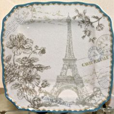222 fifth pemberley blue dinner plate set 4 square porcelain eiffel paris new & 222 FIFTH CITY SCENES SET 4 PLATES APPETIZER DESSERT NEW SQ PARIS ...