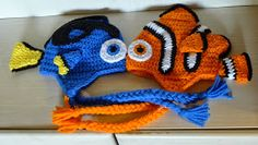 Nemo and Dori inspired hat crochet pattern. Various sizes included in the pattern.
