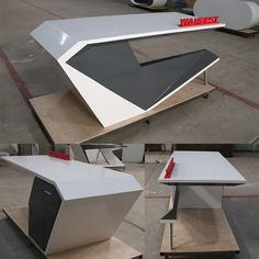 Artificial stone Office desk - Miguel Montero Artificial stone Office desk Artificial stone Office d Office Table Design, Reception Desk Design, Office Furniture Design, Office Interior Design, Office Interiors, Counter Design, Built In Bookcase, Easy Woodworking Projects, Artificial Stone