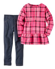 Kid Girl 2-Piece Neon Plaid Tunic & Jegging Set from Carters.com. Shop clothing & accessories from a trusted name in kids, toddlers, and baby clothes.