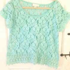 Forever 21+ Aqua Lace Crochet Trim Top 1X True to size, gorgeous color in perfect condition. Forever 21 Tops Blouses