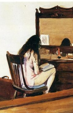 Interior (Model Reading), detail (1925). Edward Hopper (American, 1882-1967). Art Institute of Chicago.