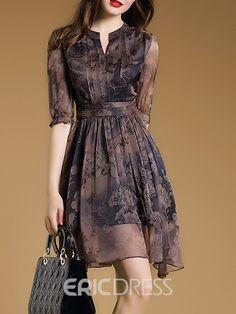 A-Line Vintage Print Casual Dress