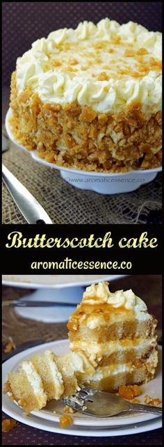 Butterscotch cake! Step-by-step recipe with pictures to make bakery style butterscotch cake with homemade praline and butterscotch flavored whipped cream frosting. #butterscotch #butterscotchcake #baking #cakes @aromaticessence