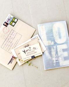 "The Stationery-Hillary designed the invitations as a mini magazine, filling each with a few special photos, beloved quotes from Walt Whitman and Mark Twain, artwork, and a short interview in which both the bride and groom answered the questions ""I am,"" ""you are,"" and ""we are."" ""Love your love"" was used thematically throughout the wedding -- a phrase Aaron spoke one day and it stuck ever since."