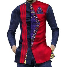 New African Men Short Sleeve Dashiki Slim Fit Shirts African Shirts For Men, African Clothing For Men, African Dresses For Women, African Wear, African Fashion Dresses, Fashion Outfits, Fashion Ideas, African Clothes, African Style
