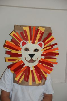 Fun kids craft, paper bag lion mask!