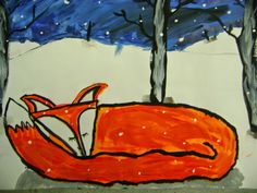 Little Dog Art Blog: 5th Grade Winter Fox Paintings. 5/29/14. Great examples.