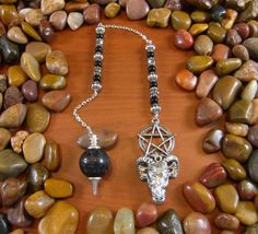 Black Tourmaline Pentagram Goat Head Pendulum by Starshine Beads on Etsy