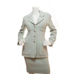 Chanel Green Wool Skirt Suit #chanel