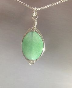 Natural Green Aventurine Sterling silver wire by OritWhiteLight