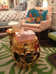 love these jonathan adler gold garden stools!