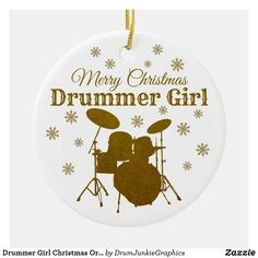 "This pretty drummer ornament features a gold colored drum set with snowflakes and the caption ""Merry Christmas Drummer Girl"". Check out www.drumjunkiegraphics.com for more great drummer merch and musician gifts - all designed by a drummer! #drummerchristmas #musicianchristmas #snaredrum  #drummergirl #drumjunkie"