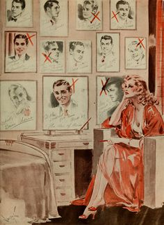 "Vincentini: ""Going, Going…"" sketch depicts a young lady mourning the fact that all of her favourite stars are getting married, one by one, 1939."