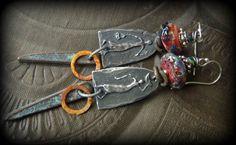 Primitive, Figurines, Village People, Rustic,Tribal, Lampwork Glass, Dagger, Hoops, Beaded Earrings by YuccaBloom on Etsy