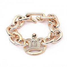 Bransoletka łańcuch korona złota