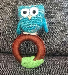 Crochet rattle, owl, babyshower gift