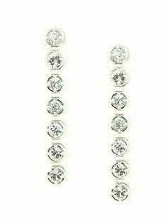 Long Cubic Zirconia Diamonds in Bezel Set Linear Post Drop Earrings le Jane. $29.00. Save 51% Off!