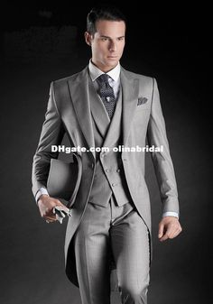 Handsome Beautiful Light Grey Morning Suits Groom Tuxedos Suit Slim Fit Tuxedo SuitsJacket+Pants+Vest+Tie+Kerchief Mens Clothes Suits For Men From Olinabridal, $78.6| Dhgate.Com