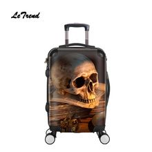4da283d94f7b Letrend Skull Rolling Luggage Spinner Men Fashion Cabin Trolley Suitcase  Wheels 20 inch Women Carry On Travel Bag Student - SmartPholexShop