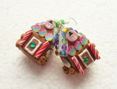 Gingerbread House Earrings. Polymer Clay. by GiraffesKiss on Etsy