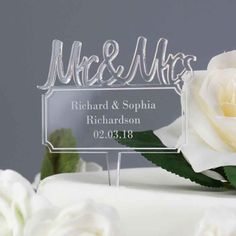 On trend acrylic Mr & Mrs wedding cake topper personalised with your own message or names. Personalized Anniversary Gifts, Personalized Wedding Cake Toppers, Anniversary Gifts For Couples, Wedding Gifts, Wedding Cakes, Wedding Day, Chic Wedding, Acrylic Cake Topper, Mr And Mrs Wedding