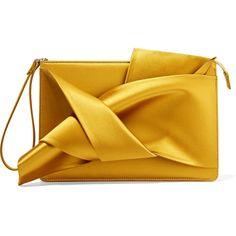 No. 21 Knot satin clutch ($340) ❤ liked on Polyvore featuring bags, handbags, clutches, saffron, zipper handbag, satin clutches, origami purse, bow purse and satin purse
