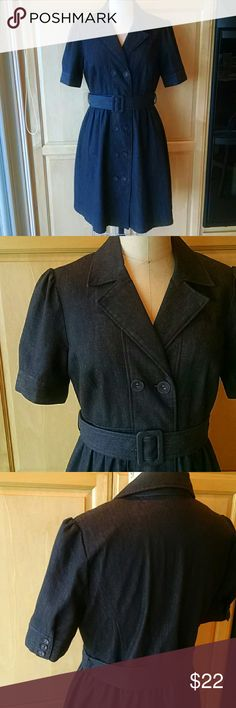 """Kenar Black stretch denim shirt dress Very well made and in excellent used condition. Fabric is cotton polyester spandex denim Fully lined in acetate Double breasted button up front with fabric covered buttons. Self belt with slide buckle. Sleeve with cuff and 3 little fabric covered buttons. Skirt length is 22"""" Kenar Dresses Midi"""