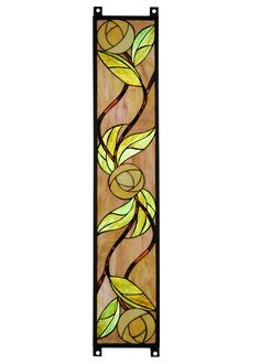 A stained glass window, inspired by Scottish designer Charles Rennie Mackintosh, is created from Dusky Rose glass with Ivory Roses and Sparkling Wood Green leaves and highlighted with bands of granite