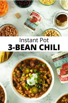 My family is obsessed with this flavor-packed, super-easy Vegan 3-Bean Chili! You can use any canned beans you like to make it.    #vegetarianchili #veganchili #chili #instantpot #instapot